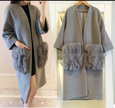 2015 womens elegant fox fur autumn and winter wool coat medium-long slim woolen outerwear  free shipping Одежда и ак�е��уары<br><br><br>Aliexpress