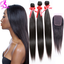 7A Grade Peruvian Virgin Hair Straight With Lace Closure 3 Bundles With Closure Human Hair Weave With Closure Peruvian Straight