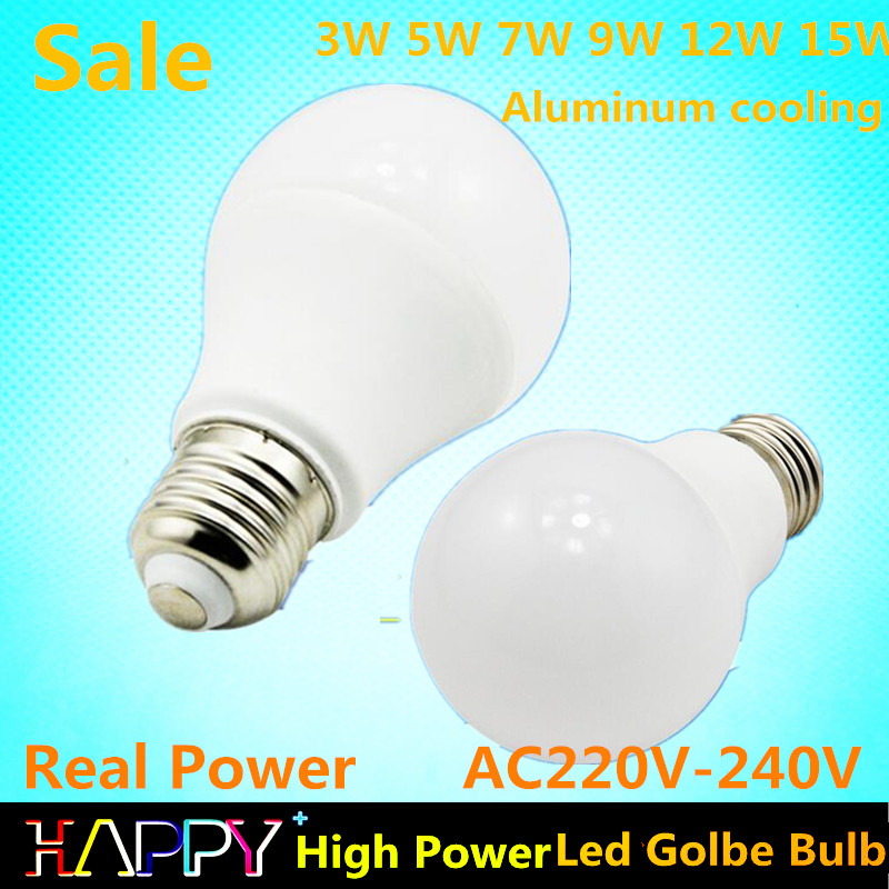 Aluminum cooling luz led AC 220V Led Golbe Bulb lamp Smart IC Real Power 3W 5W 7W 9W 12W 15W lampada led(China (Mainland))