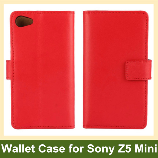 Hot Genuine Leaher Wallet Flip Cover Case for Sony Xperia Z5 Compact/Z5 Mini E5803 E5823 10pcs/lot Drop Shipping