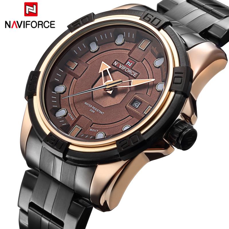 Watches Men NAVIFORCE Brand Full Steel Army Military Watches Men's Quartz Hour Clock Watch Sports Wrist Watch relogio masculino(China (Mainland))