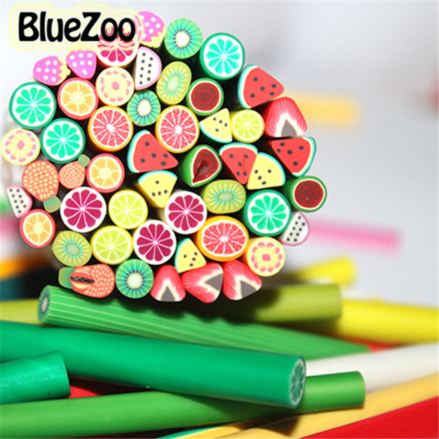 BlueZoo 600pcs/lot Nail Art 3D Canes Fimo Rods Polymer Clay Tips DIY Decoration Art