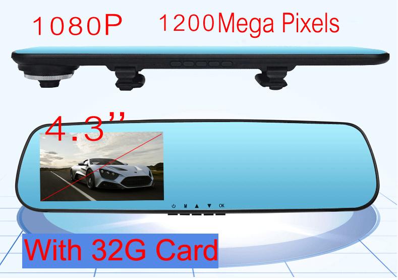 1080P 170 Degree Car Camera 1200 Mega Pixels Dual Lens With Rearview Mirror Dvr Recorder 4
