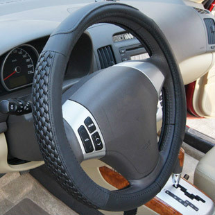 Superior Quality High-grade Leather Knitting Steering Wheel Cover 38 Cm Diameter Domineering Man Car Steering Wheel Cover(China (Mainland))