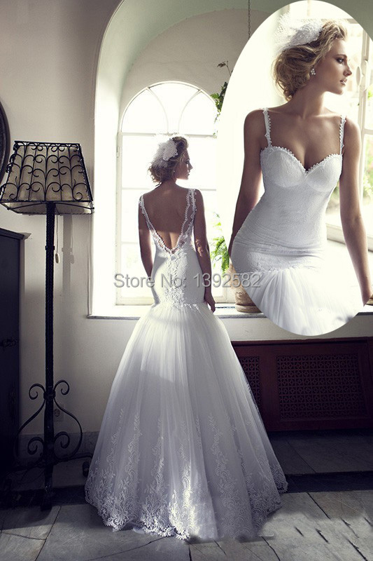 Low V Back Wedding Dresses : Low v back mermaid wedding dresses russian dubai tulle bridal gown