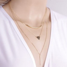 New Fashion Multi layer Geometric Designed Gold Silver Bar Stick Triangle Chain Choker Necklace Pendant NX111(China (Mainland))