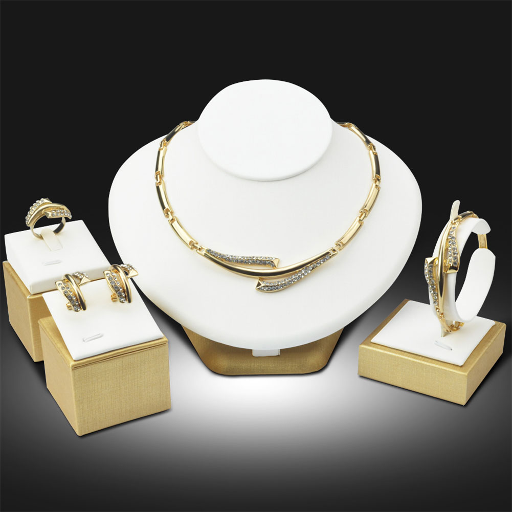 Beads 18K Gold Plated Earrings Bracelet Necklace Party Set Jewelry(China (Mainland))