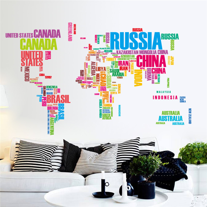 Creative DIY World Map Colorful Letters Wall Stickers Living Room PVC Wall Decals Mural Art Home Decor