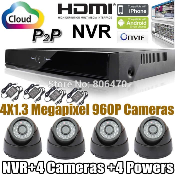 Здесь можно купить  4-Channel Home DIY CCTV Network Video Recorder Security System NVR Kit & 4CH 960P Dome Indoor IR IP Camera Kit  Безопасность и защита