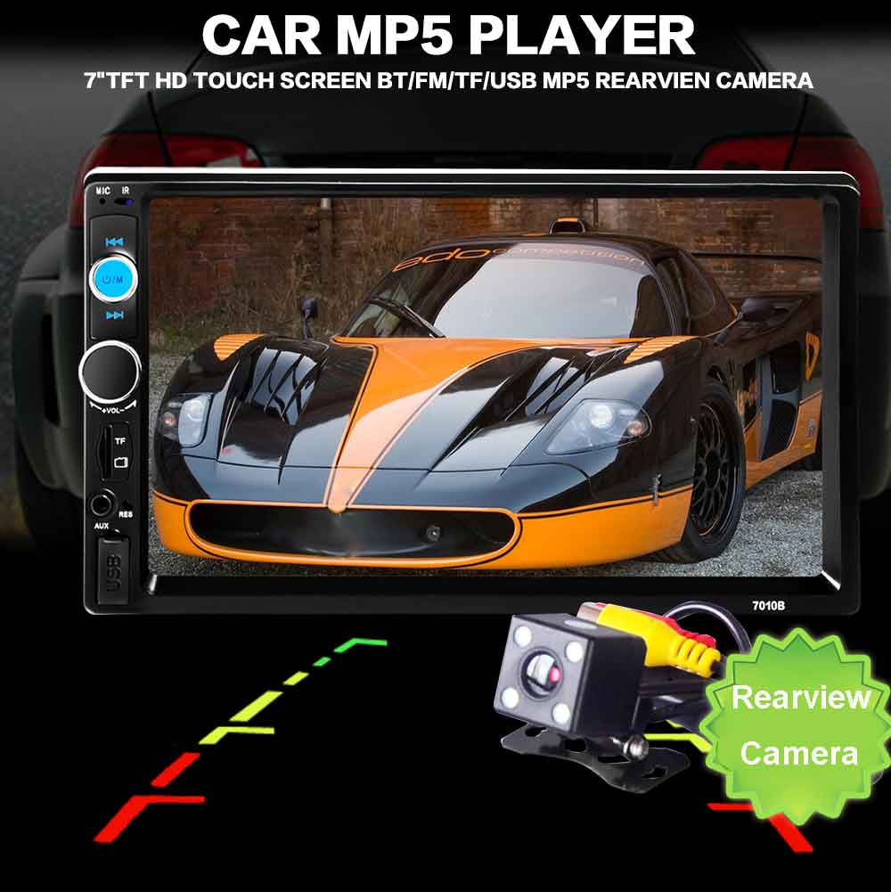 Camera!!! 2 Din Car Radio Player 7'' HD Touch Screen Bluetooth Stereo Radio FM/MP4/MP5/Audio/Video/USB Auto Electronics In Dash