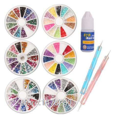 6 Wheels Combo Set Nail Art set Nailart Manicure Rhinestones Glitter Tips Deco + 2x Dotting Pen Glue - ShenZhen keyun Co., Ltd. store