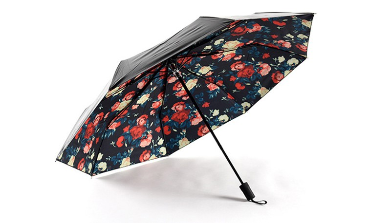 Classical Romantic Rose Umbrellas Multi Function Anti Uv Sun Umbrella Rain  Women Rain Gear Creative Nylon