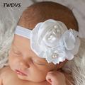 TWDVS Newborn Flower Hair Accessories Pearl Diamond Kids Hair Elastic Band Fashion Flower Headband W047