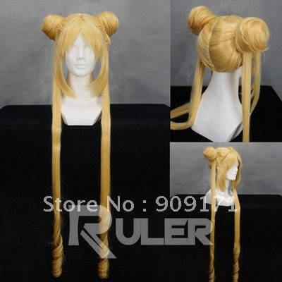 Long Sailor Moon-Tsukino Usagi Golden Anime Cosplay Wig COS (B0320)<br><br>Aliexpress