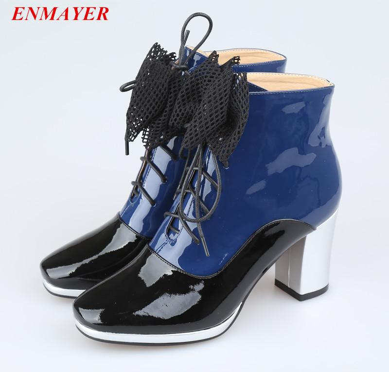 Здесь можно купить  ENMAYER    Lace-Up Mixed Colors Fashion ankle Boots Round Toe Square heel Bowtie women