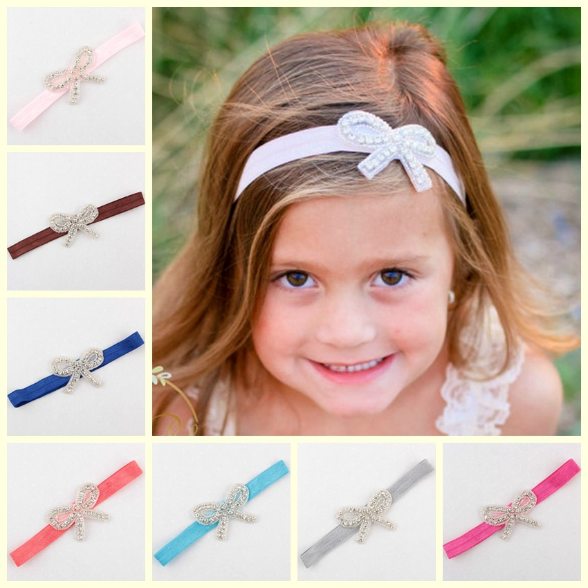 Lovely Girls Hairband Elastic Rhinestone BowKnot Headbands High Quality Hair band For Children Hair Accessories HB196(China (Mainland))