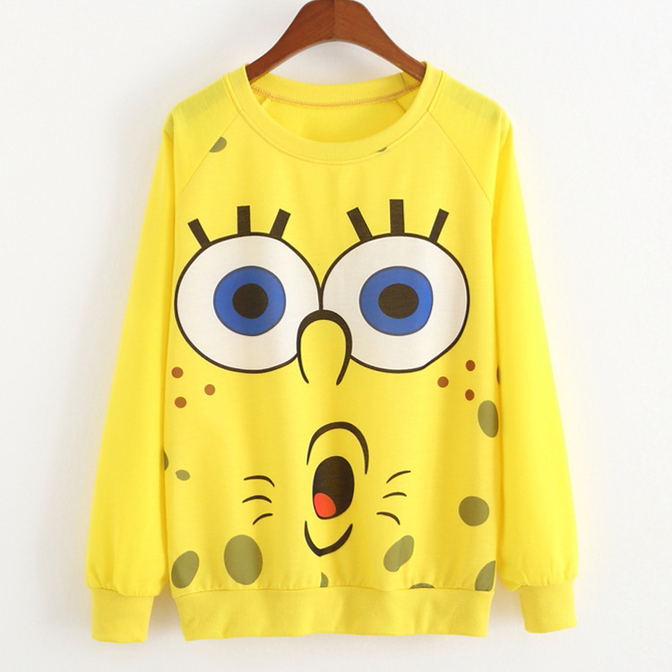 2015 Women Sweatshirt Character Pullover Women Fashion SpongeBob Smiley Printed O-Neck Sweatshirts Casual Suits Women Hoodies(China (Mainland))
