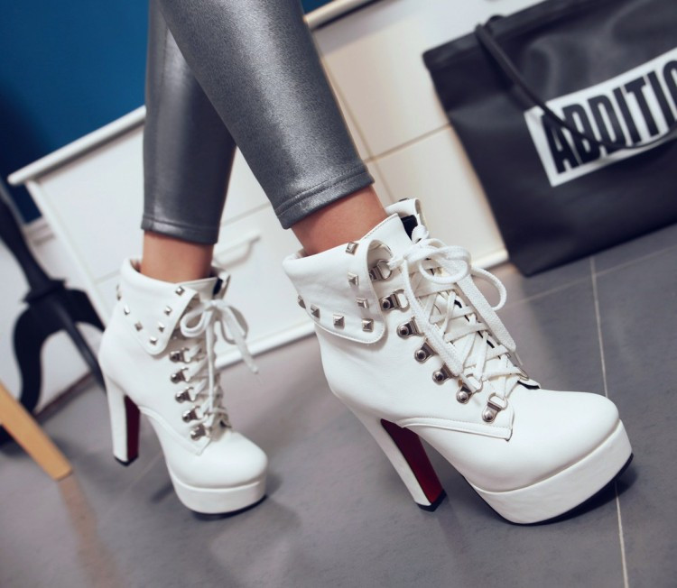 2016 New Chunky High Heels Pumps Knight Boots For Sale Comfortable White Dress Shoes Women Black Platform Ankle Booties Beige