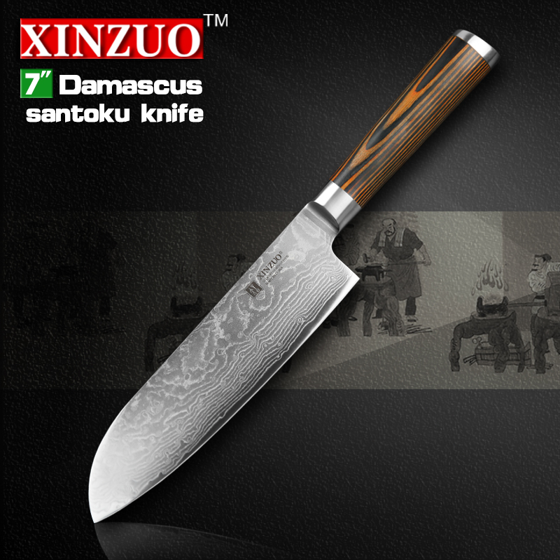 xinzuo 7 inch japanese chef knife damascus steel kitchen knives sharp japanese vg10 santoku. Black Bedroom Furniture Sets. Home Design Ideas