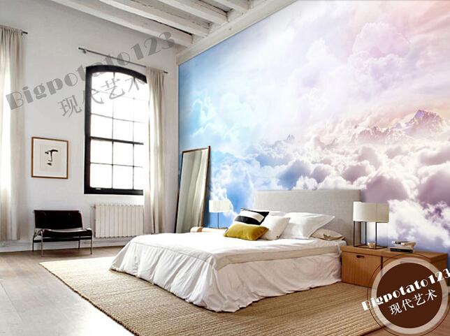 custom natural wallpaper sun sky clouds landscape murals