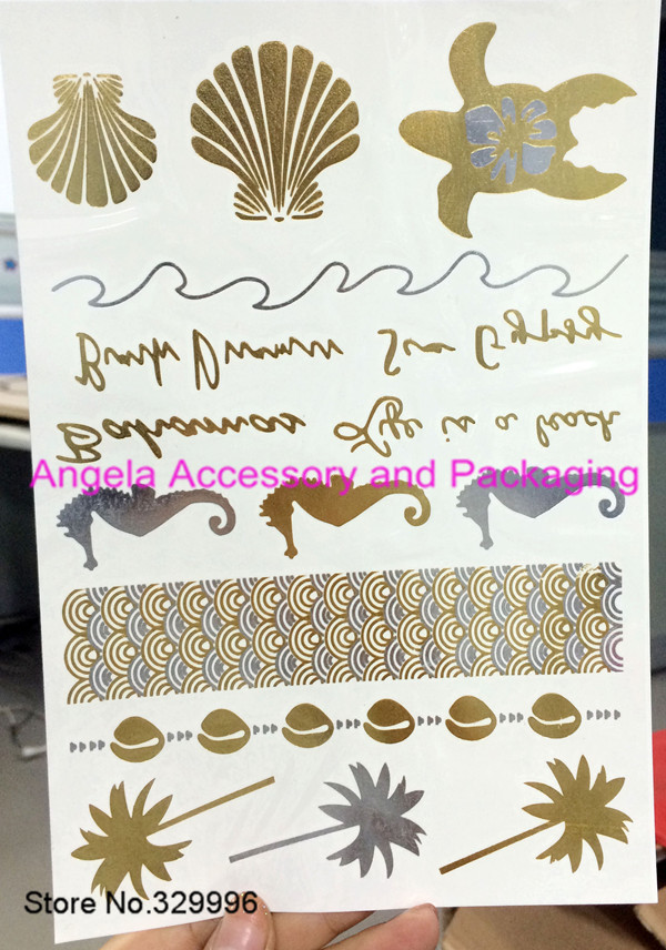 2014 New Metallic Flash Tattoos Temporary Gold/Silver Body Jewelry Sticker Deco Non-toxic Waterproof J-019 - Angela Accessory and Packaging store