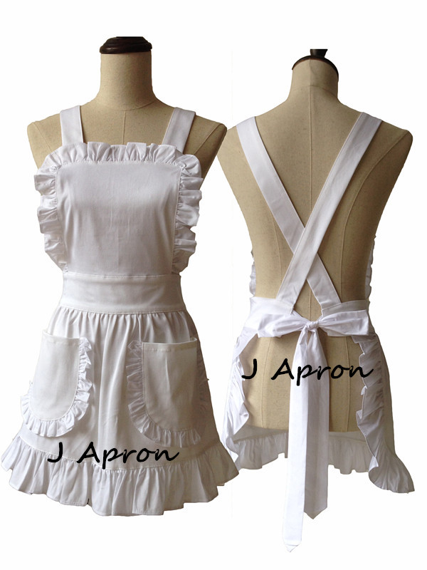 Japanese Style Short Women Elegant White Ruffled Corss Back Adult Cosplay Apron White Cotton Apron Avental de Cozinha Divertido(China (Mainland))