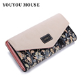 2015 New Fashion Envelope Women Wallet Hit Color 3Fold Flowers Printing 5Colors PU Leather Wallet Long
