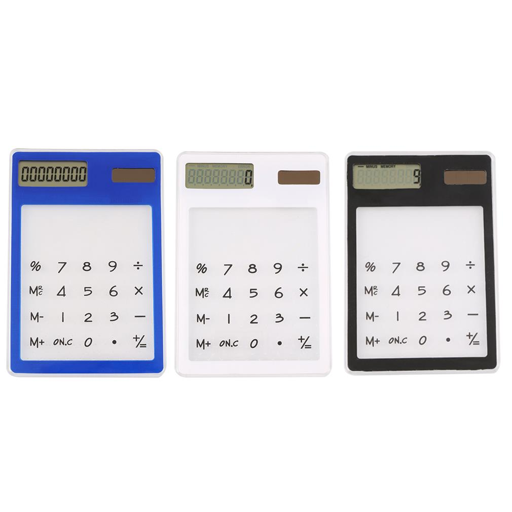 NEW Ultra Slim Solar Touch Screen LCD 8 Digit Electronic Transparent Calculator(China (Mainland))