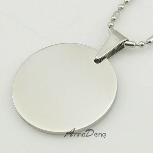 Round Dog Tag Silver 316 Stainless Steel Pendant Necklace metal stamping blanks tags military Soldiers Sale KJP14 - AnnaDeng Jewelry store