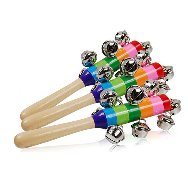 Cute Rainbow Baby Toy Pram Crib Handle Wooden Bell Stick Shaker Rattle