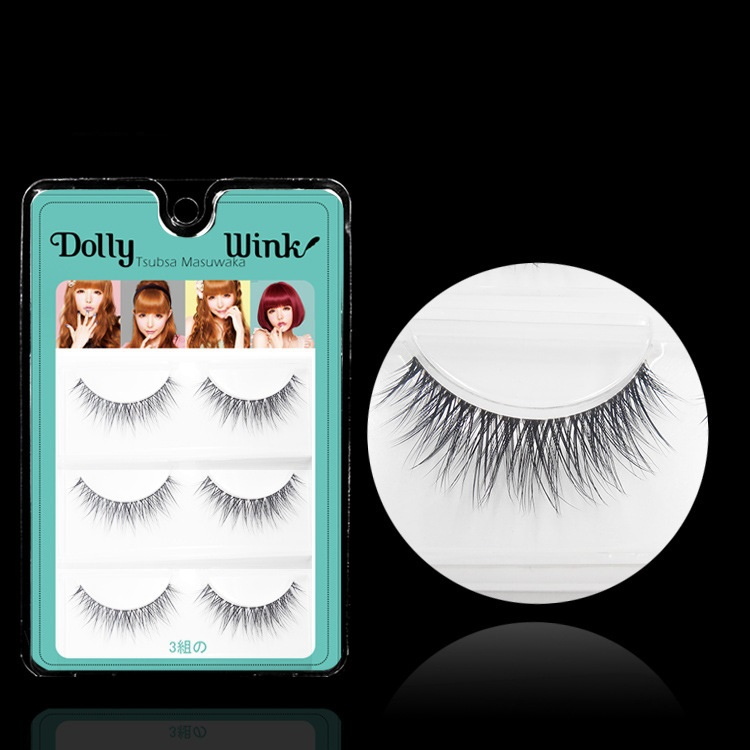 Dolly Wink 3 Pairs/Lot 3D Double Layer False Eyelash Extension MX05 Makeup Cosmetics Crisscross Natural Long Fake Eye Lash - LBB Commercial Co., Ltd. store