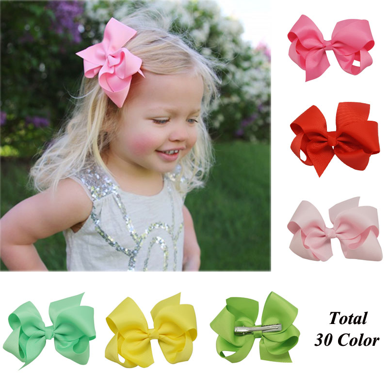 "Free Shipping 30 Pcs/lot 4"" Solid Hair Bow With Clip For Baby,Boutique Ribbon Hair Bow For Kids,Classic Baby Hair Bow 30 Colors(China (Mainland))"