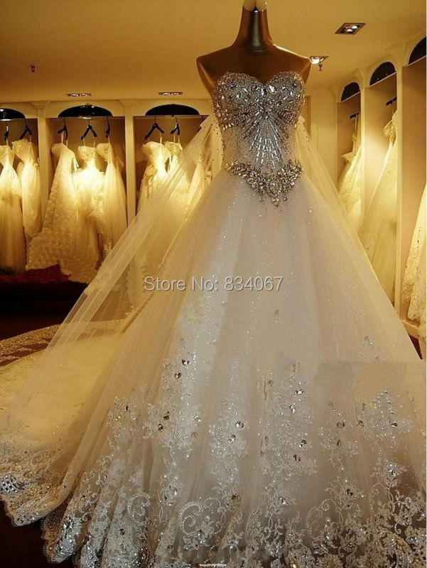 2015 Brazilian Style A Line Appliques and Diamond Floor Length Lace Wedding Dress Luxury Crystals Long Train(China (Mainland))