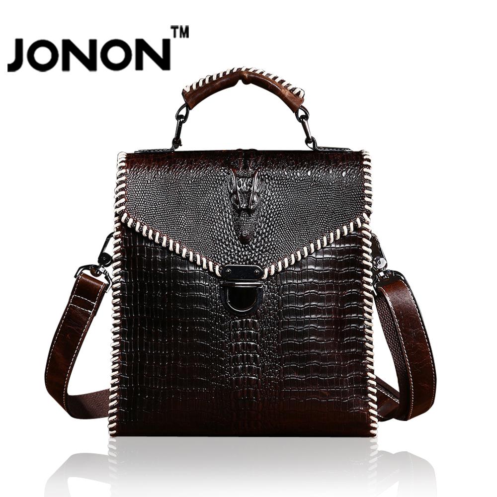 2016 Fashion Casual Jonon Brand Mens Crazy Horse Genuine Leather Handbag Genuine Cowhide Vintage Messenger Bag Shoulder Bags<br><br>Aliexpress