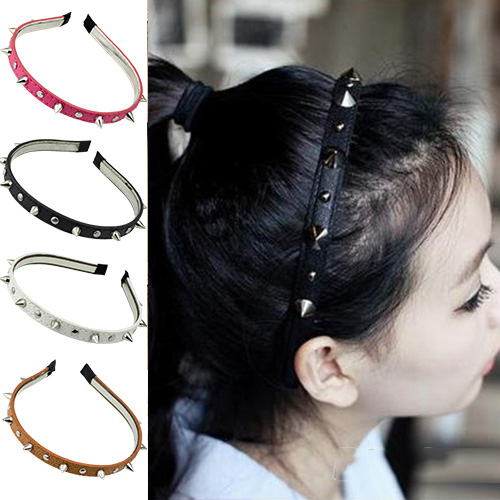 New Womens Lady Girls Multied color Spike Rivets Studded Headband Hair Band Party Band Punk Women Accessories 5H6F 7EHN(China (Mainland))