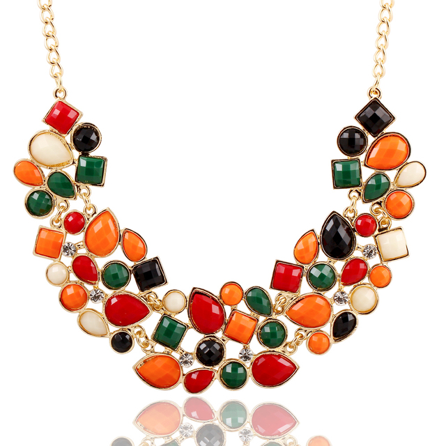 (BIG Style) Exaggeration Temperament fashion splicing geometry Necklace vintage colorful gem choker necklace  !cRYSTAL sHOP
