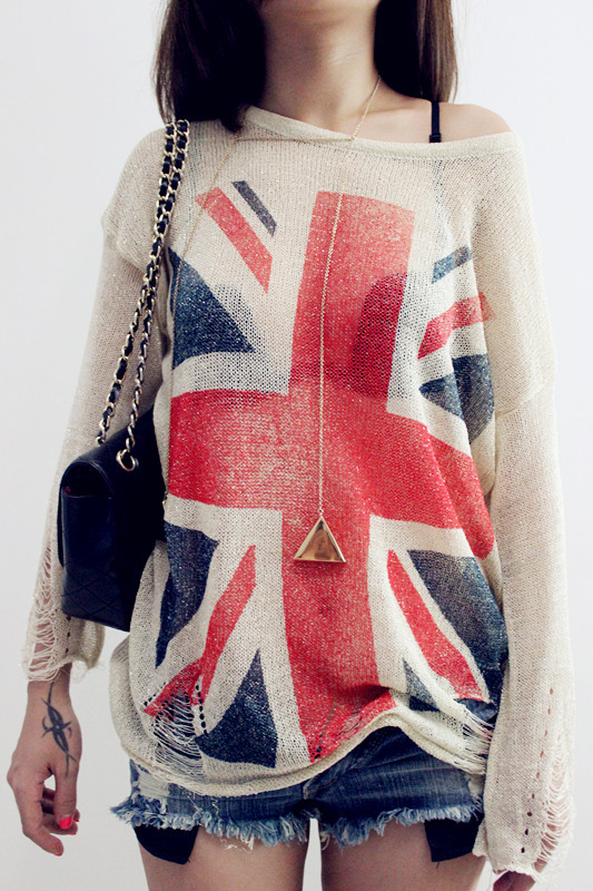Free shipping 2015 East Knitting Women Fashion Wildfox UK Flag hollow out loose Knitting Sweaters Pullover Tops(China (Mainland))