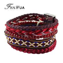National Bohemia Style Indian Jewelry Pulseira Red Elastic Tibetan Handmade Wrap Bracelets Female Bangles New Bijoux Women(China (Mainland))