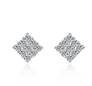 0.25CT/ Piece Excellent Square Shape SONA Synthetic Diamond Stud Earrings Genuine Sterling Silver 925 Platinum Plated - CHARMING JEWELRY,.LTD store