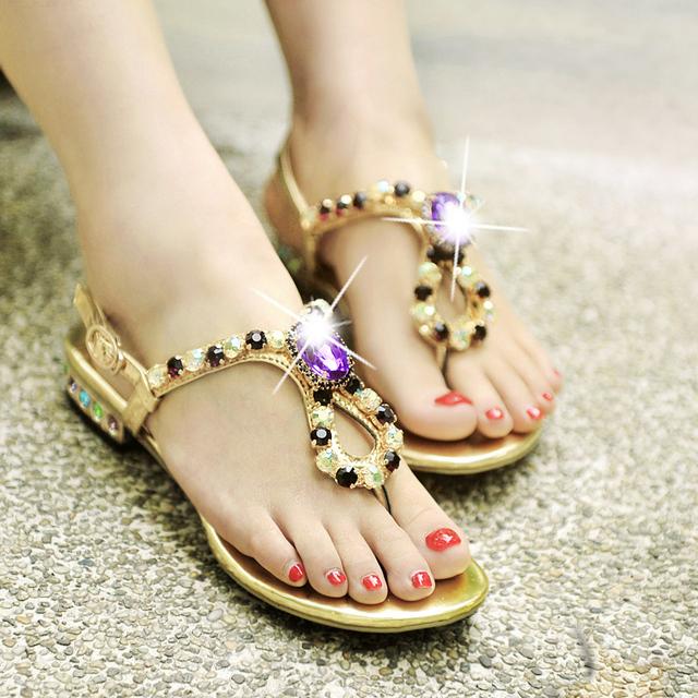 Bohemia beaded sandals female genuine leather rhinestone flip-flop flat sandals female 2013