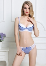 Push Up Appliques Bra & Brief Sets For Plump Women Yellow Striped Underwire Lace Bra Set 75-90 B C Cup Underwear Free Shipping