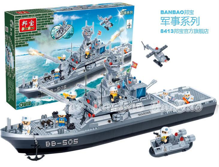 Banbao Model building kits compatible lego city military destroyer 3D blocks Educational toys hobbies children - JENS store