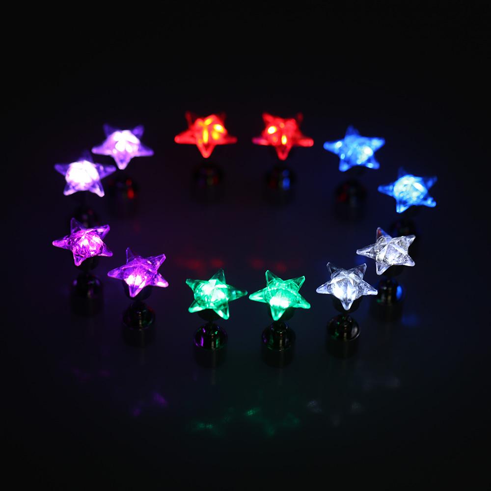 Fashion Party Earrings For Women Light LED Earrings Shine Blinking Rhinestone Stainless Steel Stud Earrings 6 Colors(China (Mainland))