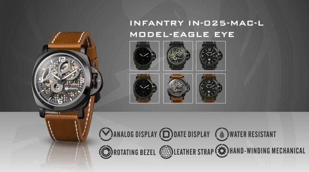 INFANTRY Men's Watches Brand Military Army Wristwatches Brown PU Leather Hand Winding Mechanical Skeleton New Relogio Masculino