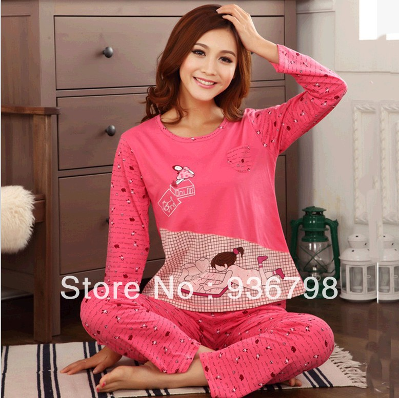 2014 100% cotton Cartoon Pink Beautiful girl Women's sleep home leisure dress lounge wear suits pajamas sets - SOCK & BEAUTY store