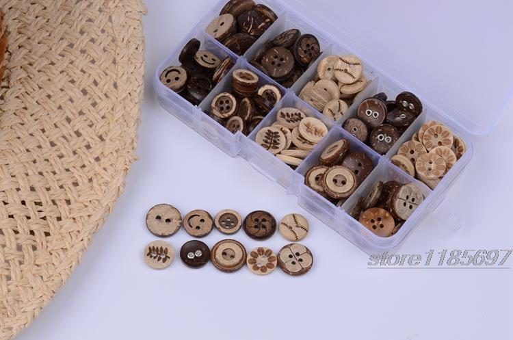 11mm-15mm 100pcs 10 mixed Style Coconut buttons natural wooden buttons crafts and scrapbooking sewing accessories botones(China (Mainland))