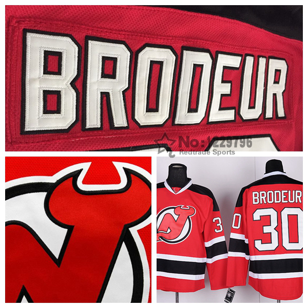 Men's New Jersey Devils Hockey Jerseys #30 Martin Brodeur Jersey Home Red Road Away White Cheap Martin Brodeur Stitched Jersey(China (Mainland))