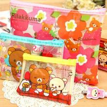 4 piece Lovely Rilakkuma Mesh PVC  File Bag Storage Organizer Case Stateionry Pencil Bag Escolar Papelaria School Supply(China (Mainland))
