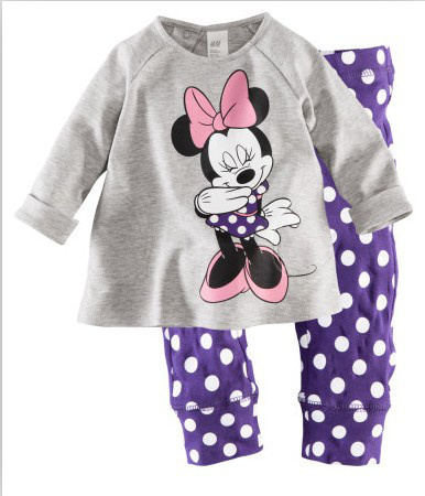 100% cotton,kids girl's 2 pc sets home wear,cartoon minnie mouse purple polka dot pajamas/sleep wear 2-7T free shipping