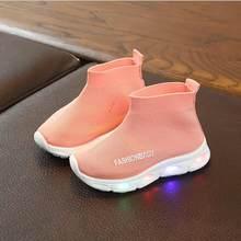 ילדים נעלי אלסטי ספורט Led נעלי פנאי תינוק בני בנות אור נעלי ילדי ילדים לנשימה ספורט נעלי זוהר סניקרס(China)